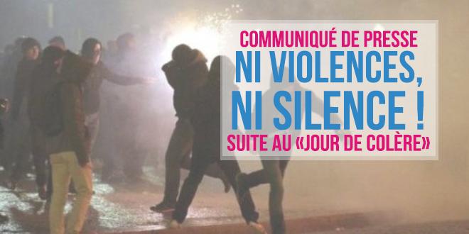 Ni violences, ni silence ! Communiqué suite au «Jour de Colère»