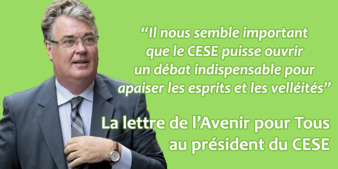 La lettre de l'Avenir pour Tous au président du CESE