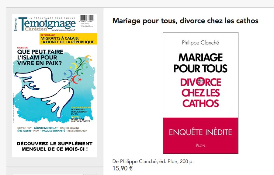 Présentation de «Mariage pour Tous, divorce chez les cathos» de Philippe Clanché