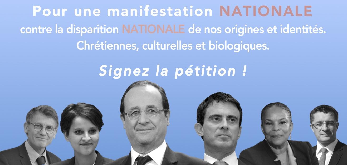 Appel du 20 mai 2015 : pour une manifestation nationale contre la destruction nationale de nos origines chrétiennes, culturelles et biologiques.
