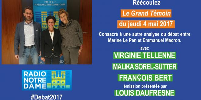 Virginie Tellenne invitée à commenter le débat sur Radio Notre Dame